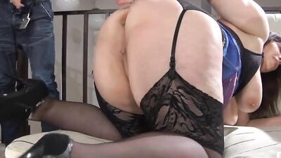 Busty Russian mom is being fucked by a horny buck