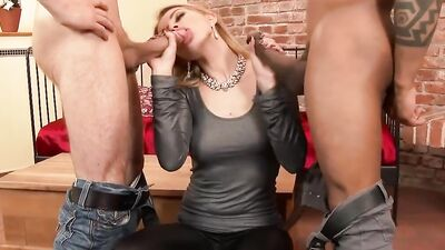 Astonishing cougar Karina Grand is double penetrated by two hung guys