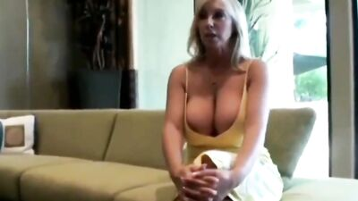 Busty blonde is sucking dick and getting fucked by a very lucky man
