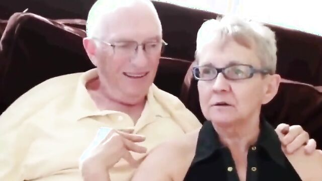 Naughty grandma is rubbing cunt while being fucked in the ass